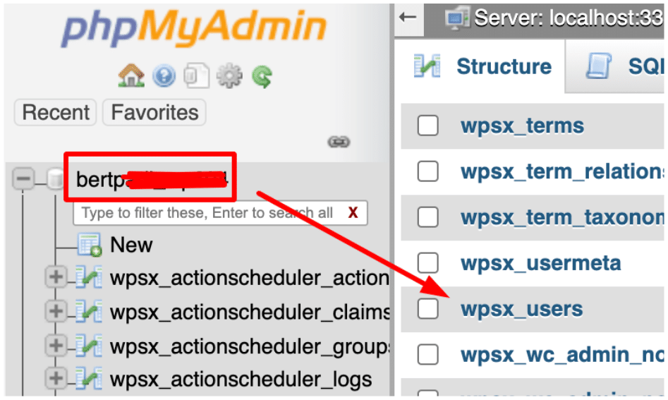 cPanel phpMyAdmin Database Users Tables